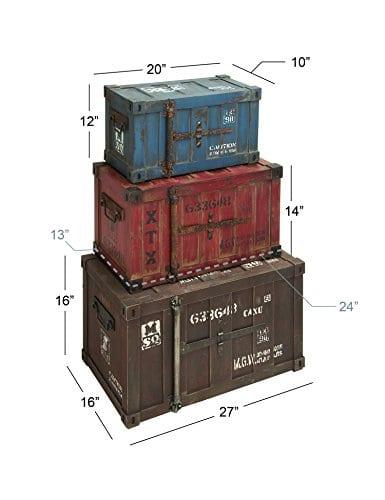Deco 79 69225 Wood Trunks Set Of 3 272420 Multicolor 0 2