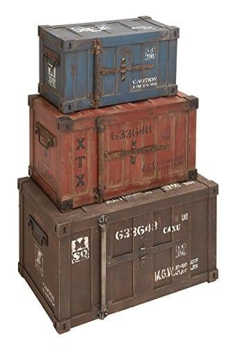 Deco 79 69225 Wood Trunks Set Of 3 272420 Multicolor 0