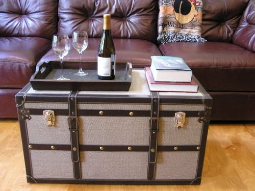Decorative Vienna Large Wood Steamer Trunk Wooden Treasure Hope Chest 0