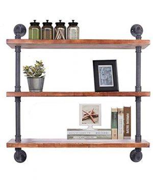 Diwhy Industrial Pipe Shelving Bookshelf Rustic Modern Wood Ladder Storage Shelf 3 Tiers Retro Wall Mount Pipe Dia 32mm Design DIY Shelving Black L 36 0 300x360