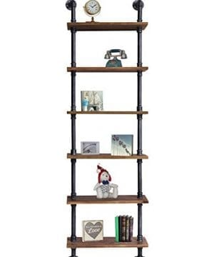 Diwhy Industrial Rustic Modern Wood Ladder Pipe Wall Shelf 6 Layer Pipe Design Bookshelf DIY Shelving 0 0 300x360