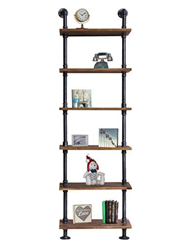 Diwhy Industrial Rustic Modern Wood Ladder Pipe Wall Shelf 6 Layer Pipe Design Bookshelf DIY Shelving 0 0