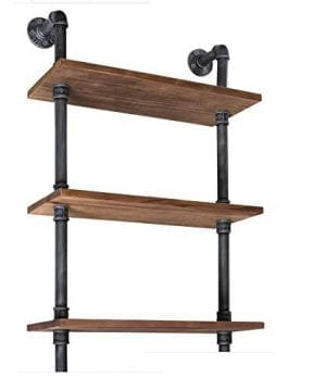 Diwhy Industrial Rustic Modern Wood Ladder Pipe Wall Shelf 6 Layer Pipe Design Bookshelf DIY Shelving 0 1 300x360