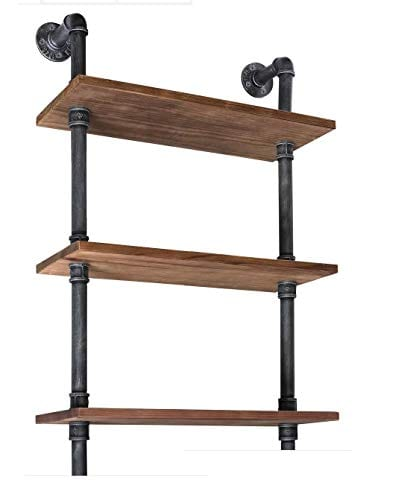 Diwhy Industrial Rustic Modern Wood Ladder Pipe Wall Shelf 6 Layer Pipe Design Bookshelf DIY Shelving 0 1