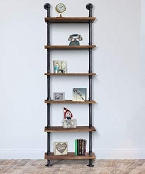 Diwhy Industrial Rustic Modern Wood Ladder Pipe Wall Shelf 6 Layer Pipe Design Bookshelf DIY Shelving 0 300x360