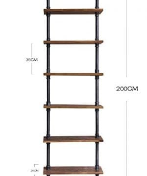 Diwhy Industrial Rustic Modern Wood Ladder Pipe Wall Shelf 6 Layer Pipe Design Bookshelf DIY Shelving 0 4 300x360