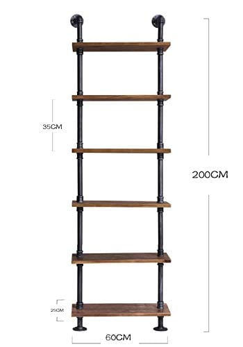 Diwhy Industrial Rustic Modern Wood Ladder Pipe Wall Shelf 6 Layer Pipe Design Bookshelf DIY Shelving 0 4