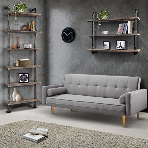 Diwhy Industrial Rustic Modern Wood Ladder Pipe Wall Shelf 6 Layer Pipe Design Bookshelf DIY Shelving 0 5