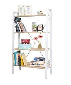 Dporticus 2 Set 4 Tier Modern Ladder Bookshelf Free Standing Open Bookcase Storage Shelf Units Display Stand Oak White 314 L X13 W X525 H 0 0 300x360