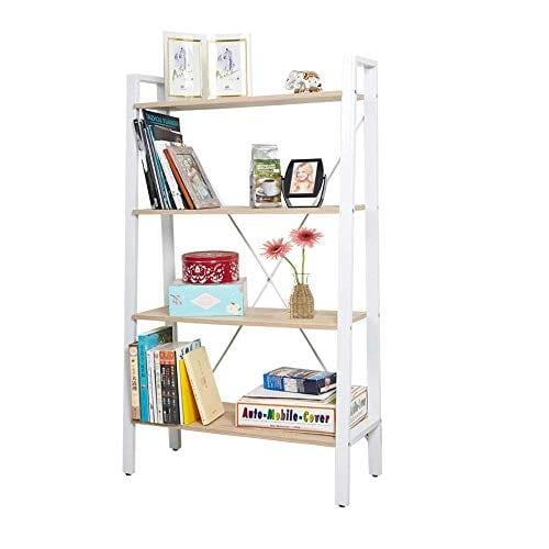 Dporticus 2 Set 4 Tier Modern Ladder Bookshelf Free Standing Open Bookcase Storage Shelf Units Display Stand Oak White 314 L X13 W X525 H 0 0