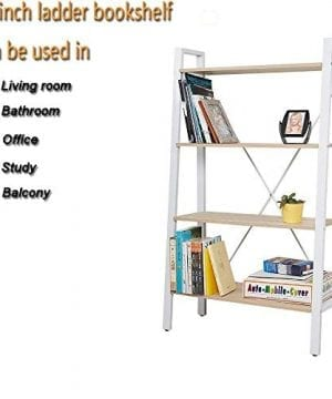 Dporticus 2 Set 4 Tier Modern Ladder Bookshelf Free Standing Open Bookcase Storage Shelf Units Display Stand Oak White 314 L X13 W X525 H 0 1 300x360
