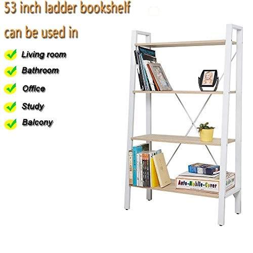Dporticus 2 Set 4 Tier Modern Ladder Bookshelf Free Standing Open Bookcase Storage Shelf Units Display Stand Oak White 314 L X13 W X525 H 0 1
