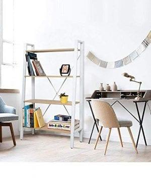 Dporticus 2 Set 4 Tier Modern Ladder Bookshelf Free Standing Open Bookcase Storage Shelf Units Display Stand Oak White 314 L X13 W X525 H 0 2 300x360