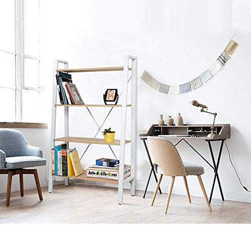 Dporticus 2 Set 4 Tier Modern Ladder Bookshelf Free Standing Open Bookcase Storage Shelf Units Display Stand Oak White 314 L X13 W X525 H 0 2
