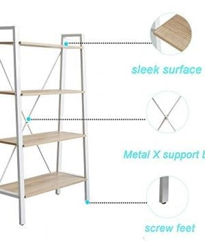 Dporticus 2 Set 4 Tier Modern Ladder Bookshelf Free Standing Open Bookcase Storage Shelf Units Display Stand Oak White 314 L X13 W X525 H 0 3 300x360