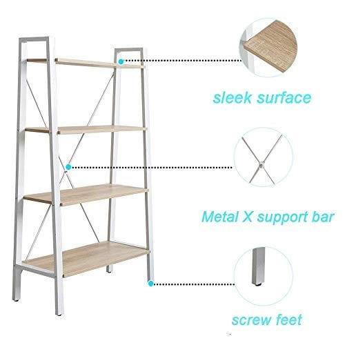 Dporticus 2 Set 4 Tier Modern Ladder Bookshelf Free Standing Open Bookcase Storage Shelf Units Display Stand Oak White 314 L X13 W X525 H 0 3