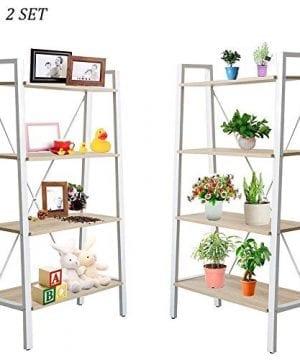 Dporticus 2 Set 4 Tier Modern Ladder Bookshelf Free Standing Open Bookcase Storage Shelf Units Display Stand Oak White 314 L X13 W X525 H 0 300x360