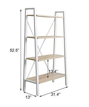 Dporticus 2 Set 4 Tier Modern Ladder Bookshelf Free Standing Open Bookcase Storage Shelf Units Display Stand Oak White 314 L X13 W X525 H 0 5 300x360