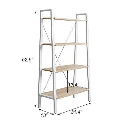 Dporticus 2 Set 4 Tier Modern Ladder Bookshelf Free Standing Open Bookcase Storage Shelf Units Display Stand Oak White 314 L X13 W X525 H 0 5