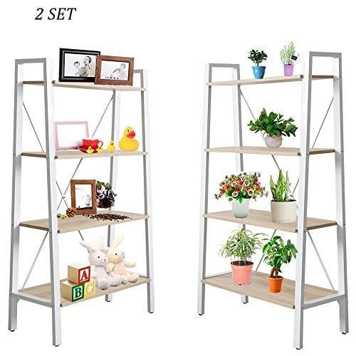 Dporticus 2 Set 4 Tier Modern Ladder Bookshelf Free Standing Open Bookcase Storage Shelf Units Display Stand Oak White 314 L X13 W X525 H 0