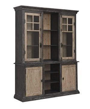 Emerald Home Barcelona Dark Brown And Rustic Pine Hutch With Glass Doors And Display Shelves 0 1 300x360