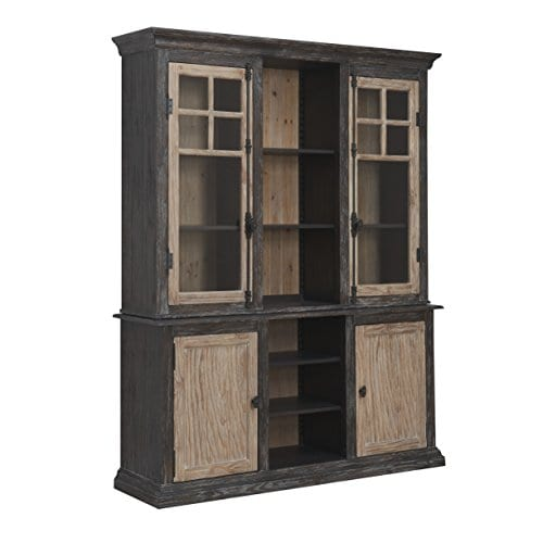 Emerald Home Barcelona Dark Brown And Rustic Pine Hutch With Glass Doors And Display Shelves 0 1