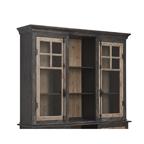 Emerald Home Barcelona Dark Brown And Rustic Pine Hutch With Glass Doors And Display Shelves 0