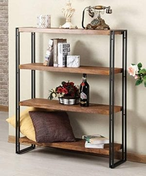 FIVEGIVEN 4 Tier Bookshelf Rustic Industrial Bookcase With Modern Open Wood Shelves Brown 0 0 300x360