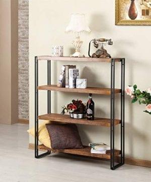 FIVEGIVEN 4 Tier Bookshelf Rustic Industrial Bookcase With Modern Open Wood Shelves Brown 0 1 300x360