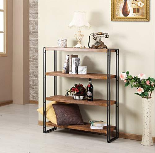 FIVEGIVEN 4 Tier Bookshelf Rustic Industrial Bookcase With Modern Open Wood Shelves Brown 0 1