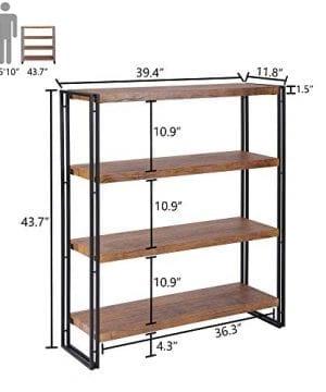 FIVEGIVEN 4 Tier Bookshelf Rustic Industrial Bookcase With Modern Open Wood Shelves Brown 0 3 300x360