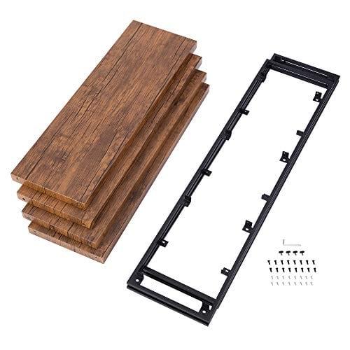 FIVEGIVEN 4 Tier Bookshelf Rustic Industrial Bookcase With Modern Open Wood Shelves Brown 0 4