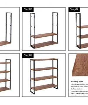 FIVEGIVEN 4 Tier Bookshelf Rustic Industrial Bookcase With Modern Open Wood Shelves Brown 0 5 300x360