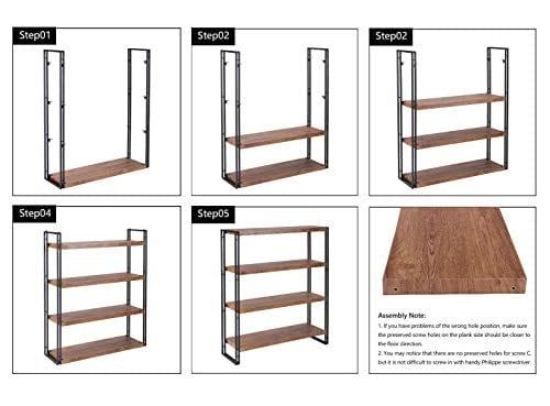 FIVEGIVEN 4 Tier Bookshelf Rustic Industrial Bookcase With Modern Open Wood Shelves Brown 0 5