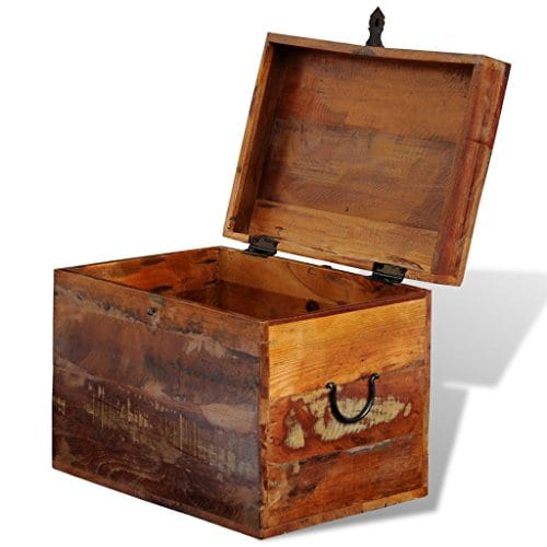 Festnight Reclaimed Solid Wood Storage Box Wooden Trunk Chest Case Cabinet Container With Handles For Bedroom Closet Home Organizer Collection 15 X 11 X 12 Inches 0 2