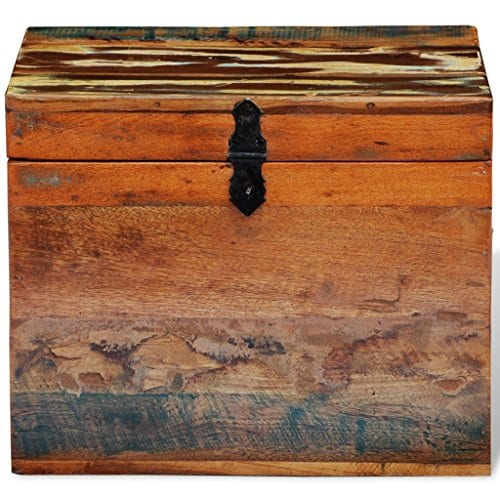 Festnight Reclaimed Solid Wood Storage Box Wooden Trunk Chest Case Cabinet Container With Handles For Bedroom Closet Home Organizer Collection 15 X 11 X 12 Inches 0 3