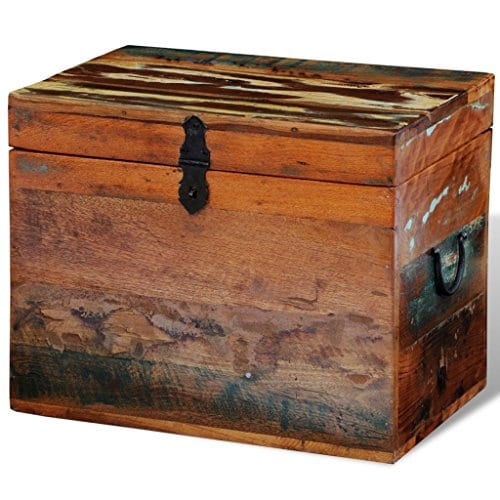 Festnight Reclaimed Solid Wood Storage Box Wooden Trunk Chest Case Cabinet Container With Handles For Bedroom Closet Home Organizer Collection 15 X 11 X 12 Inches 0