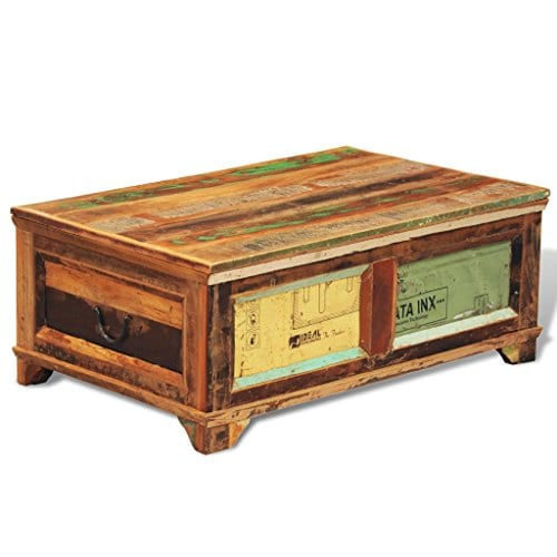 Festnight Vintage Storage Cabinet Box Reclaimed Wood Coffee Table Tea End Table Pure Handmade For Home Office Living Room Furniture 0 1