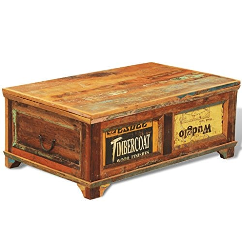 Festnight Vintage Storage Cabinet Box Reclaimed Wood Coffee Table Tea End Table Pure Handmade For Home Office Living Room Furniture 0 2