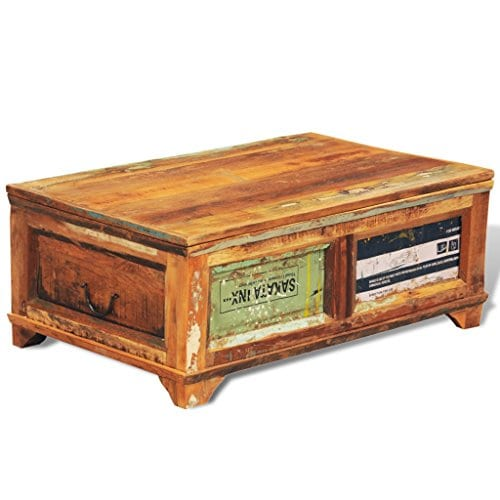 Festnight Vintage Storage Cabinet Box Reclaimed Wood Coffee Table Tea End Table Pure Handmade For Home Office Living Room Furniture 0 3
