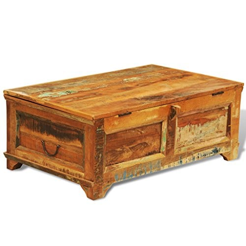 Festnight Vintage Storage Cabinet Box Reclaimed Wood Coffee Table Tea End Table Pure Handmade For Home Office Living Room Furniture 0 4