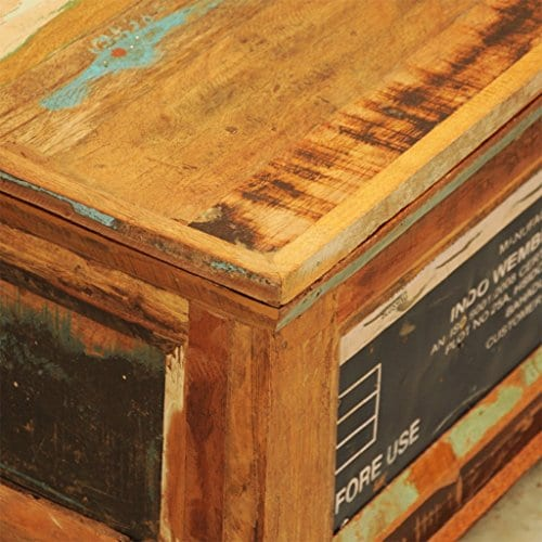 Festnight Vintage Storage Cabinet Box Reclaimed Wood Coffee Table Tea End Table Pure Handmade For Home Office Living Room Furniture 0 5