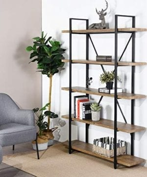 Framodo 5 Shelf Open Vintage Industrial Bookshelf Rustic Wood And Metal 5 Tier Bookcase For Home Office Organizer And Display Shelves 0 300x360