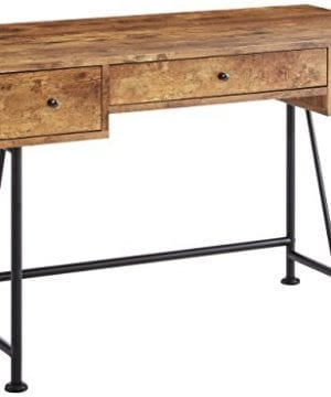 Glavan 3 Drawer Writing Desk With Antique Nutmeg And Black 0 300x360