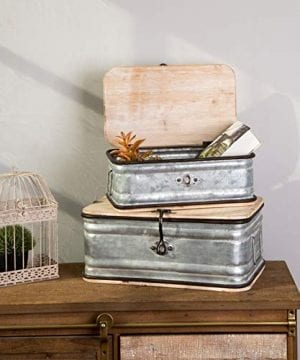Glitzhome Farmhouse Set MetalWooden Box Galvanized Storage Chests Small And Large 0 0 300x360