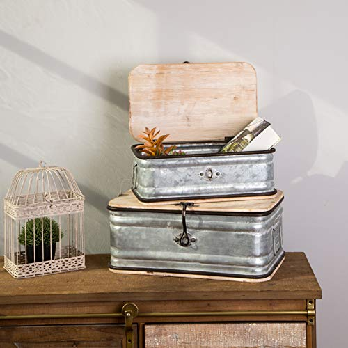 Glitzhome Farmhouse Set MetalWooden Box Galvanized Storage Chests Small And Large 0 0