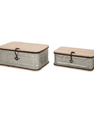 Glitzhome Farmhouse Set MetalWooden Box Galvanized Storage Chests Small And Large 0 1 300x360