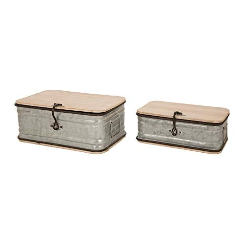 Glitzhome Farmhouse Set MetalWooden Box Galvanized Storage Chests Small And Large 0 1