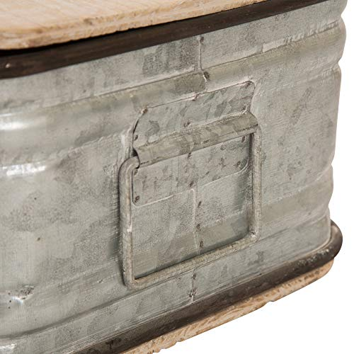 Glitzhome Farmhouse Set MetalWooden Box Galvanized Storage Chests Small And Large 0 2