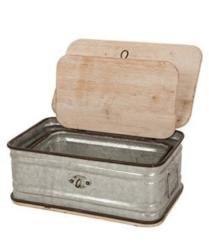 Glitzhome Farmhouse Set MetalWooden Box Galvanized Storage Chests Small And Large 0 300x360